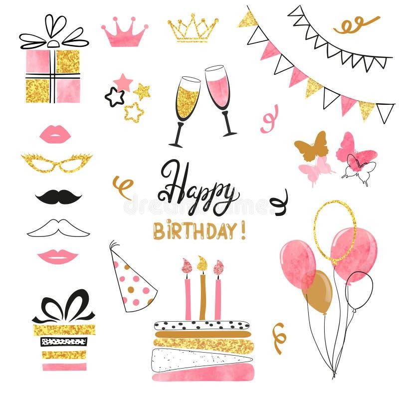 Uppsättning för symbol för födelsedagparti i svarta och guld- färger för rosa färger, stock illustrationer