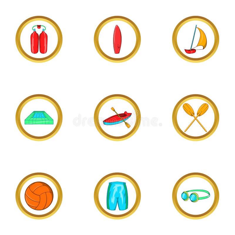 Uppsättning för symbol för ferie för vattensport, tecknad filmstil stock illustrationer