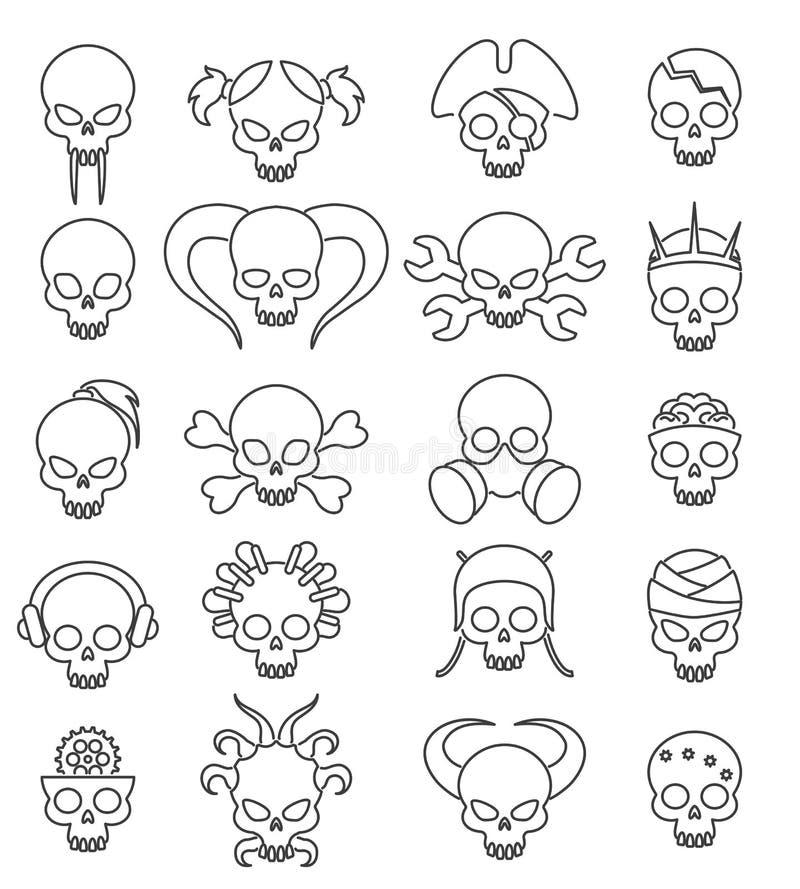 Uppsättning för symbol för gullig skalle för tecknad film linjär royaltyfri illustrationer