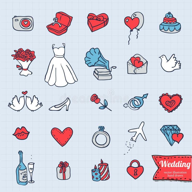 Uppsättning för symbol för handteckningsklotter, knapphändig illustration för bröllop på grungebakgrund vektor illustrationer