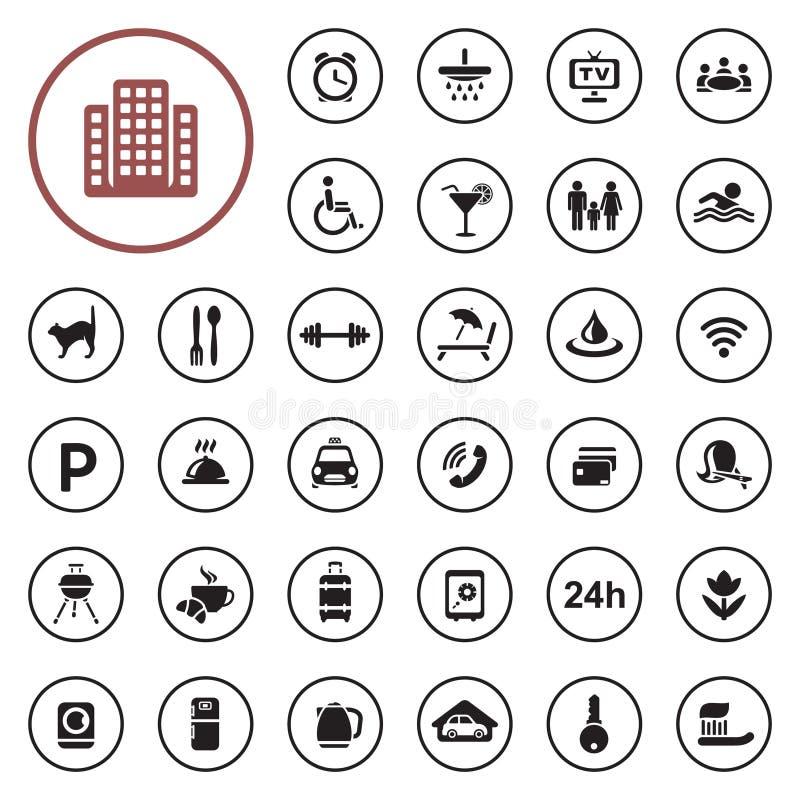 Uppsättning för symbol för hotellservice stock illustrationer