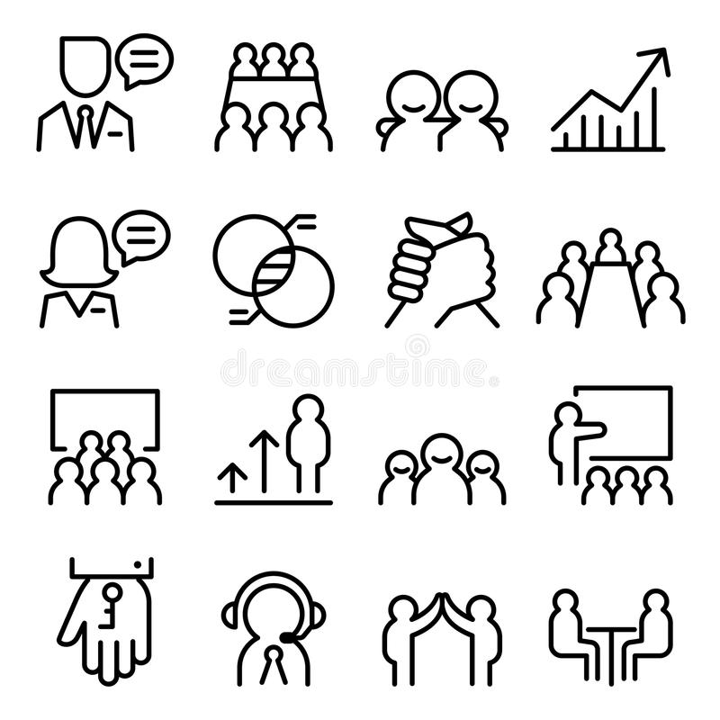 Uppsättning för symbol för konsultera för affär i den tunna linjen stil royaltyfri illustrationer