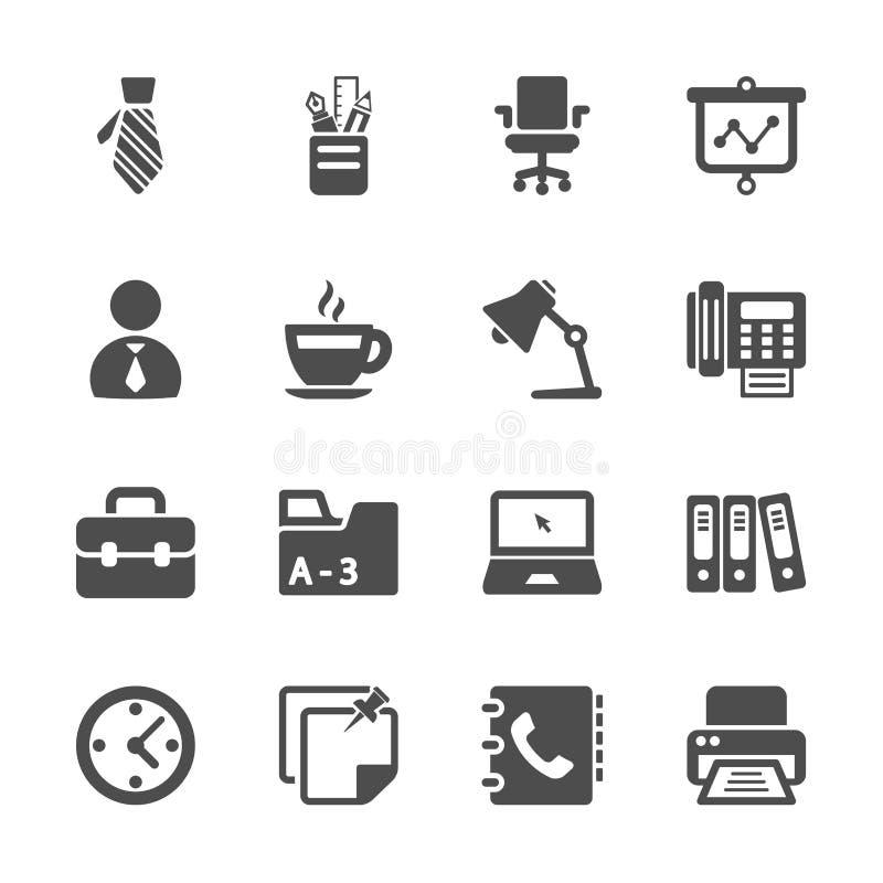 Uppsättning för symbol för kontorsarbete, vektor eps10 stock illustrationer