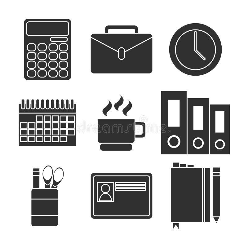 Uppsättning för symbol för kontorsutrustning stock illustrationer