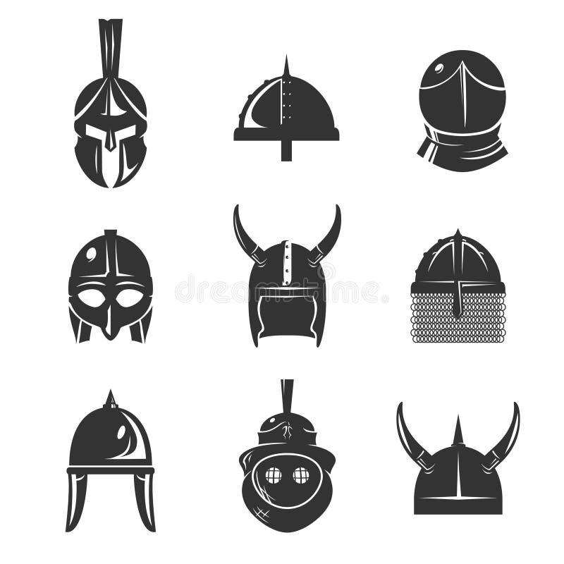 Uppsättning för symbol för krigarehjälmlägenhet vektor illustrationer