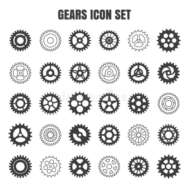Uppsättning för symbol för kugghjulkuggehjul vektor illustrationer