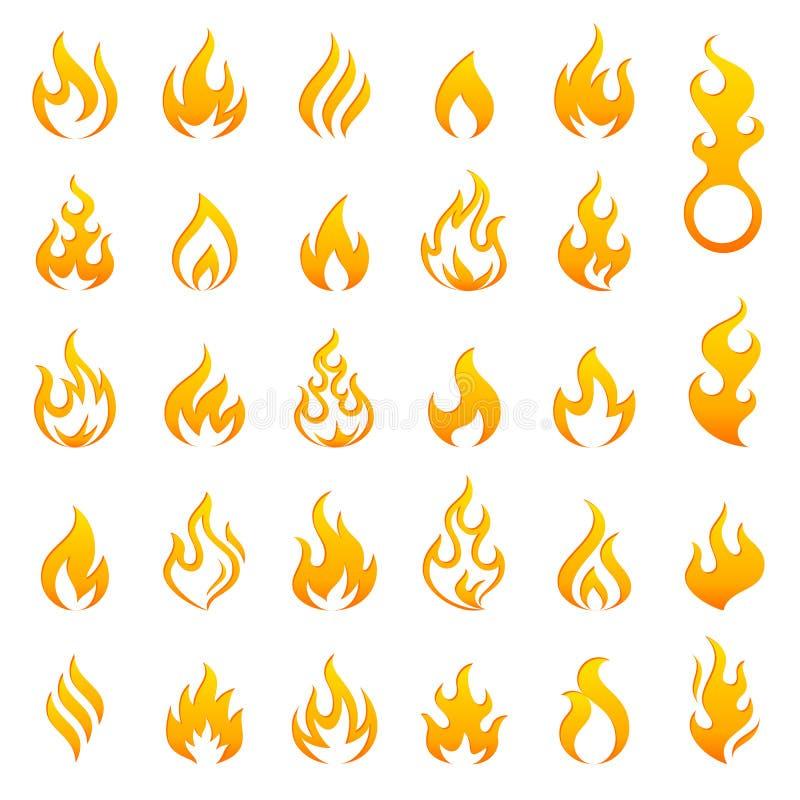 Uppsättning för symbol för kulör brand- och flammavektor royaltyfri illustrationer