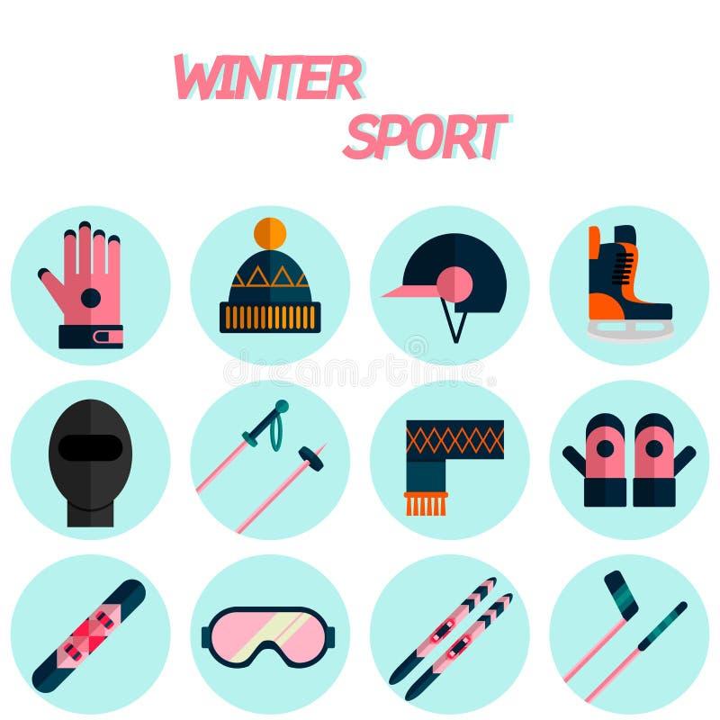 Uppsättning för symbol för lägenhet för vintersport stock illustrationer