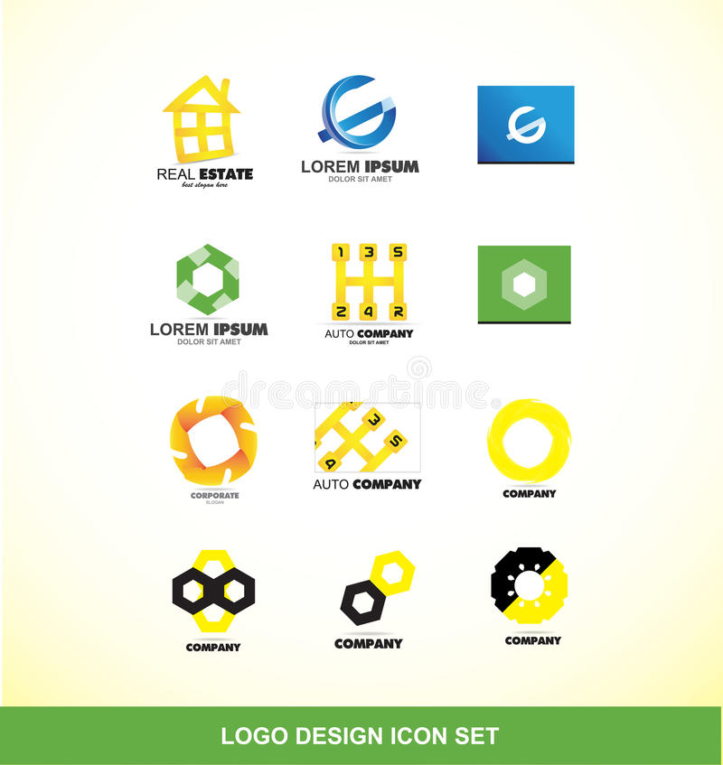 Uppsättning för symbol för logodesignbeståndsdel royaltyfri illustrationer