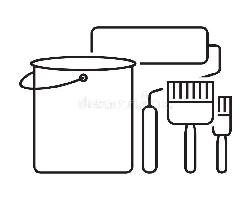 Uppsättning för symbol för målarfärgborste stock illustrationer