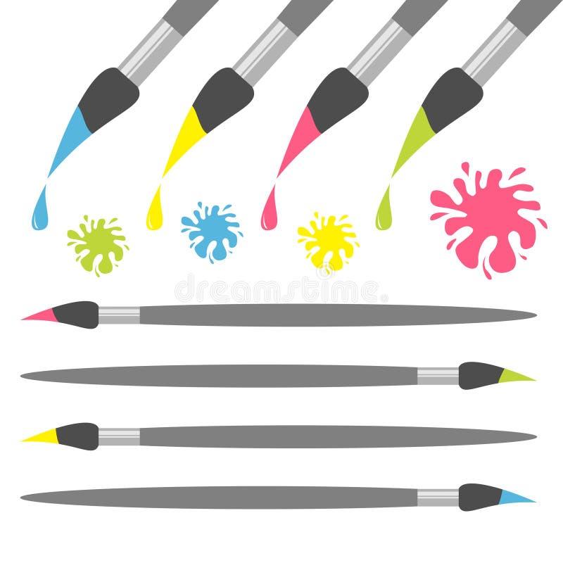 Uppsättning för symbol för målarfärgborste Droppe för grön färg för rosa färger gul blå Färgpulverfläckfärgstänk tillbaka till sk royaltyfri illustrationer