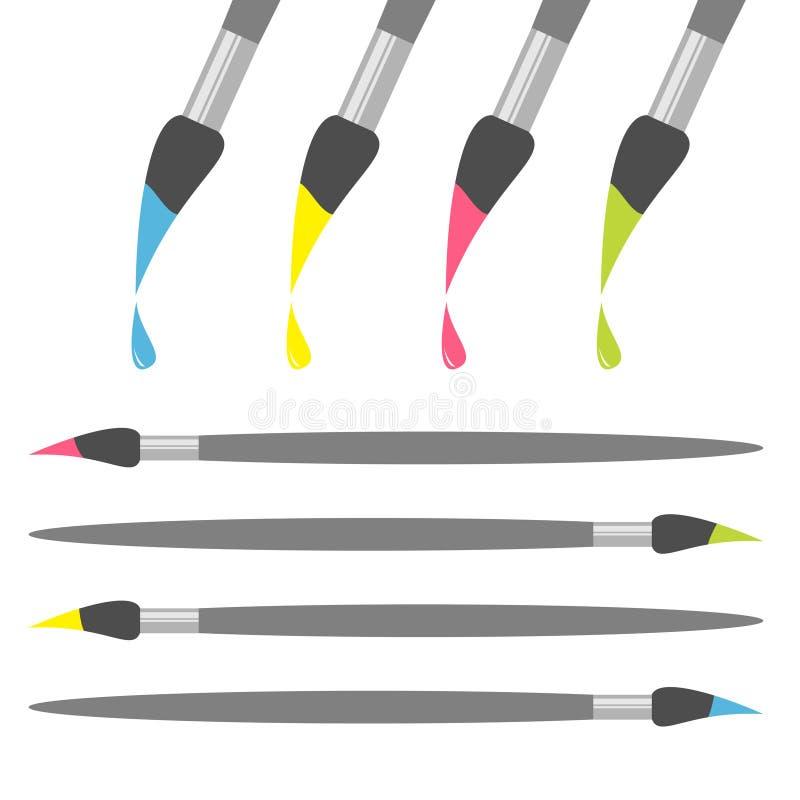 Uppsättning för symbol för målarfärgborste Droppe för grön färg för rosa färger gul blå tillbaka skola till Plan design Vit bakgr royaltyfri illustrationer