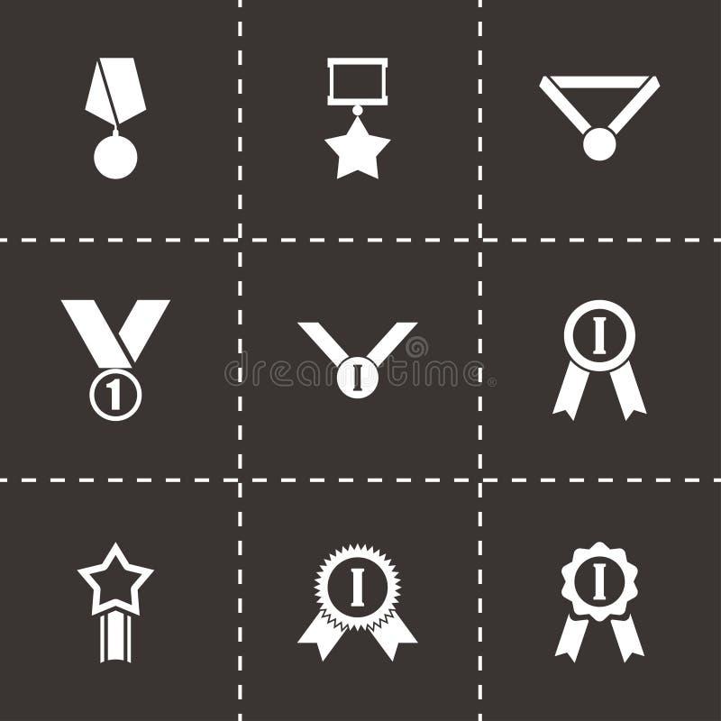 Uppsättning för symbol för medalj för vektorsvartutmärkelse vektor illustrationer
