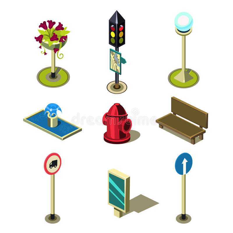 Uppsättning för symbol för objekt för plan isometrisk högkvalitativ gata för stad 3d stads- stock illustrationer