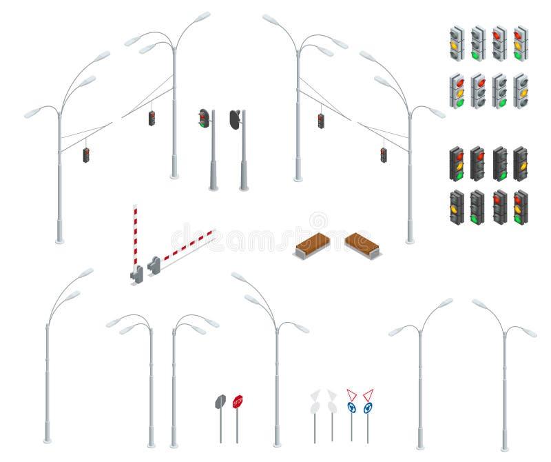 Uppsättning för symbol för objekt för plan isometrisk högkvalitativ gata för stad 3d stads- Trafikljus gataljus, stoppväg, bänk royaltyfri illustrationer