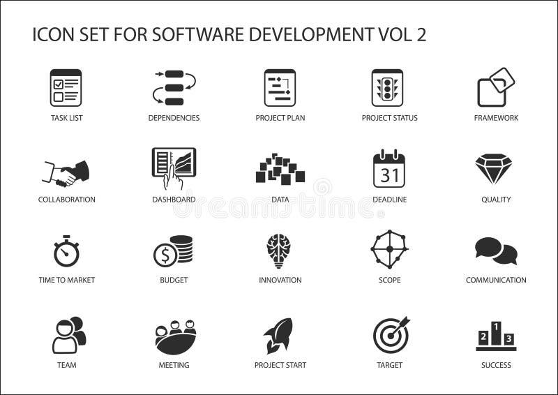 Uppsättning för symbol för programvaruutveckling Vektorsymboler som ska används för utveckling och informationsteknik om programv vektor illustrationer