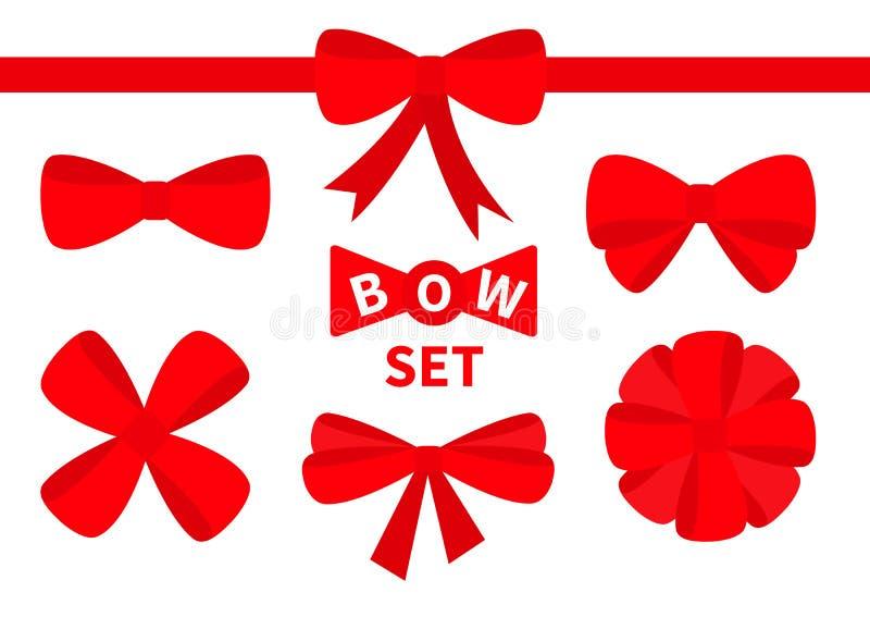 Uppsättning för symbol för röd bandjulpilbåge stor Garneringbeståndsdel för giftboxgåva Vit bakgrund isolerat Plan design vektor illustrationer