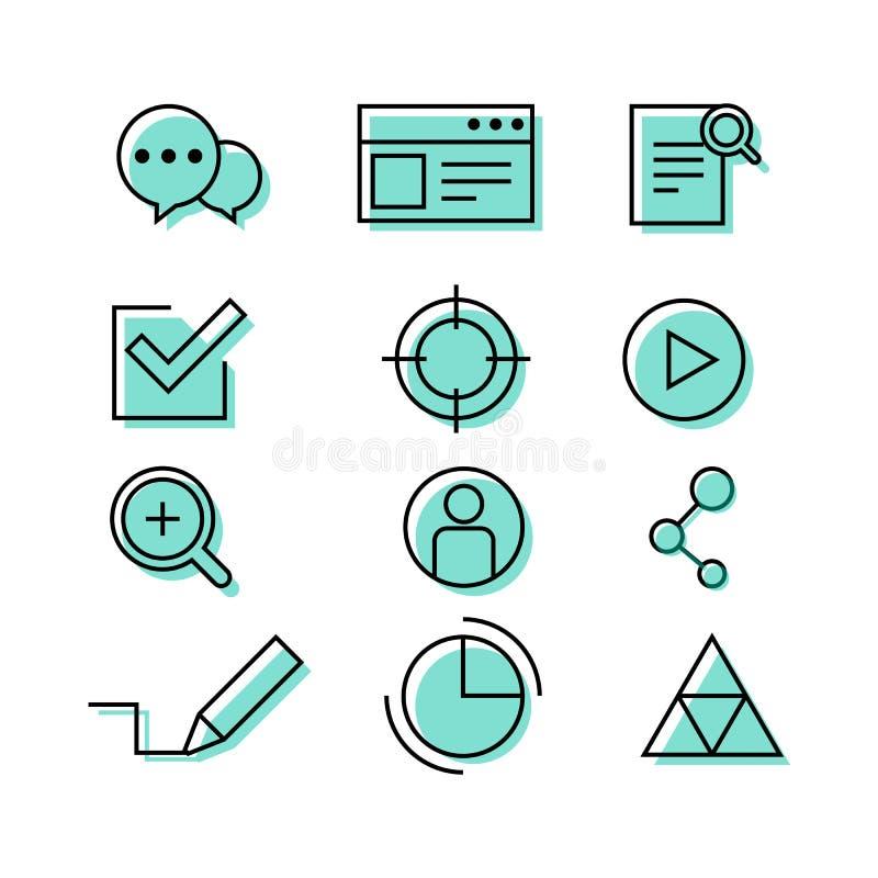 Uppsättning för symbol för rengöringsdukwebbläsareseo infographic vektor illustrationer