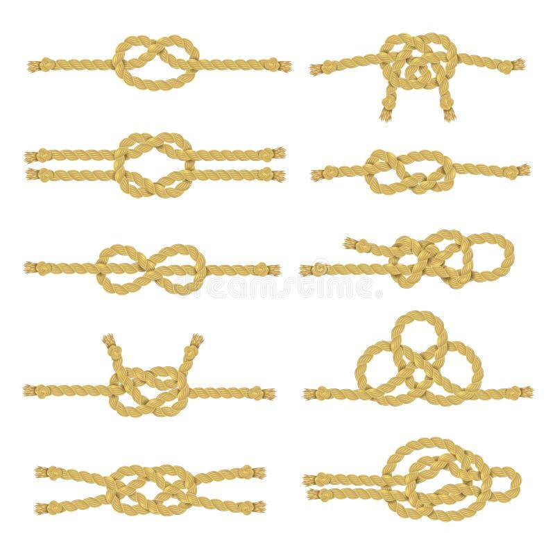 Uppsättning för symbol för repfnuren dekorativ stock illustrationer