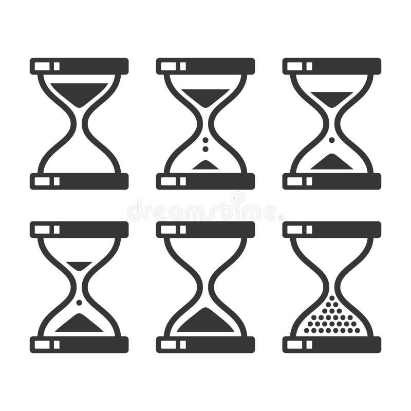 Uppsättning för symbol för sandtimglastidmätare vektor stock illustrationer