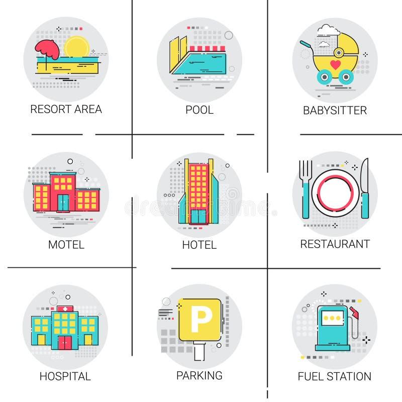 Uppsättning för symbol för service för pöl för sjukhus för område för semesterort för hotellbyggnadsrestaurang stock illustrationer