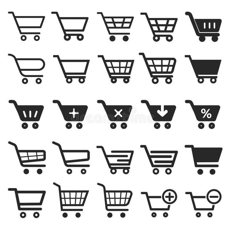 Uppsättning för symbol för shoppingvagn vektor illustrationer