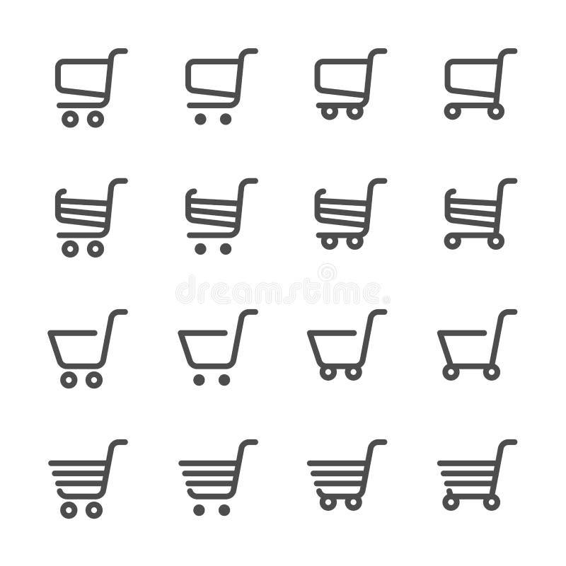 Uppsättning för symbol för shoppingvagn, linje version, vektor eps10 royaltyfri illustrationer