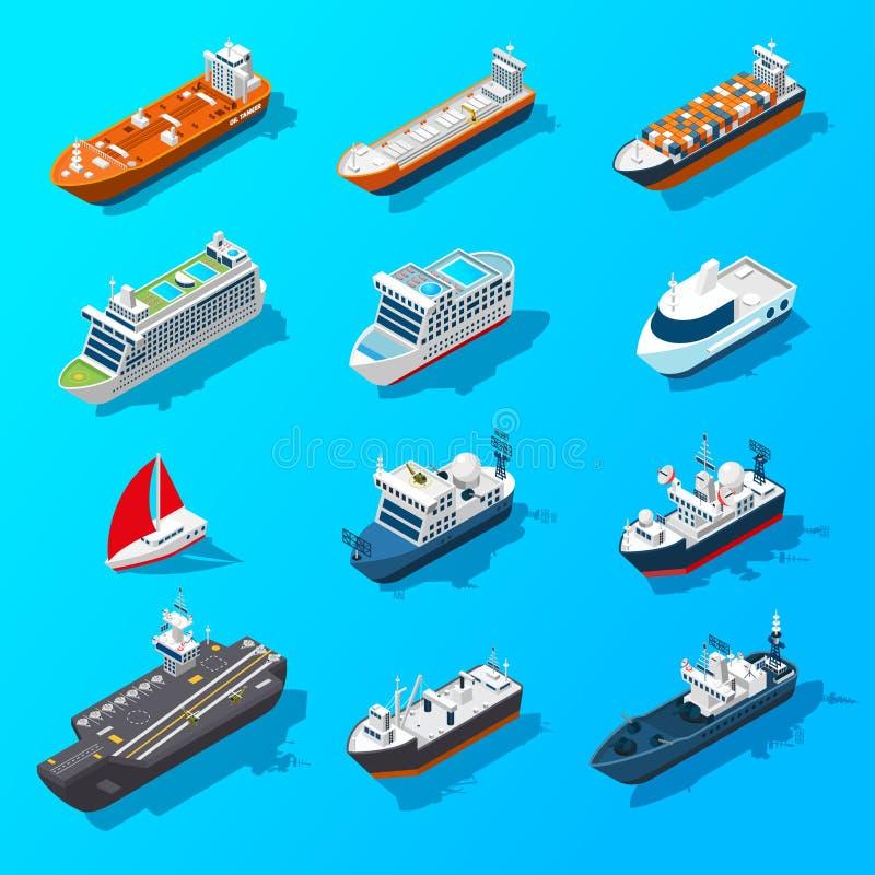 Uppsättning för symbol för skeppfartygskyttlar isometrisk vektor illustrationer