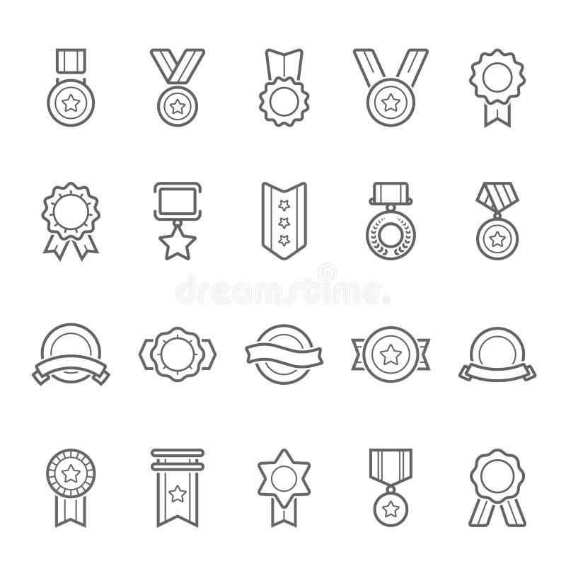 Uppsättning för symbol för slaglängd för översikt för emblemutmärkelsevektor royaltyfri illustrationer