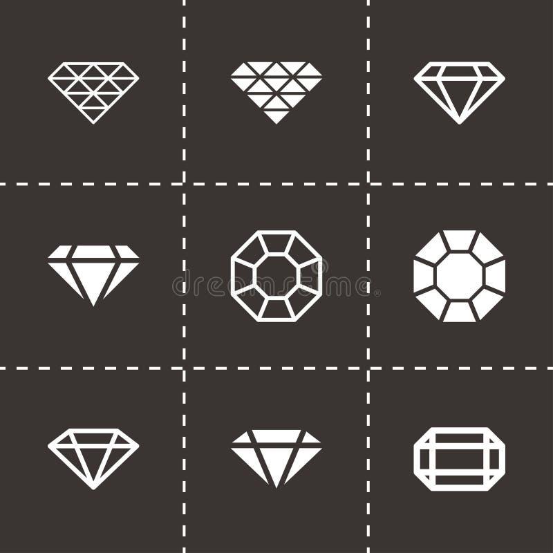 Uppsättning för symbol för svart diamant för vektor royaltyfri illustrationer