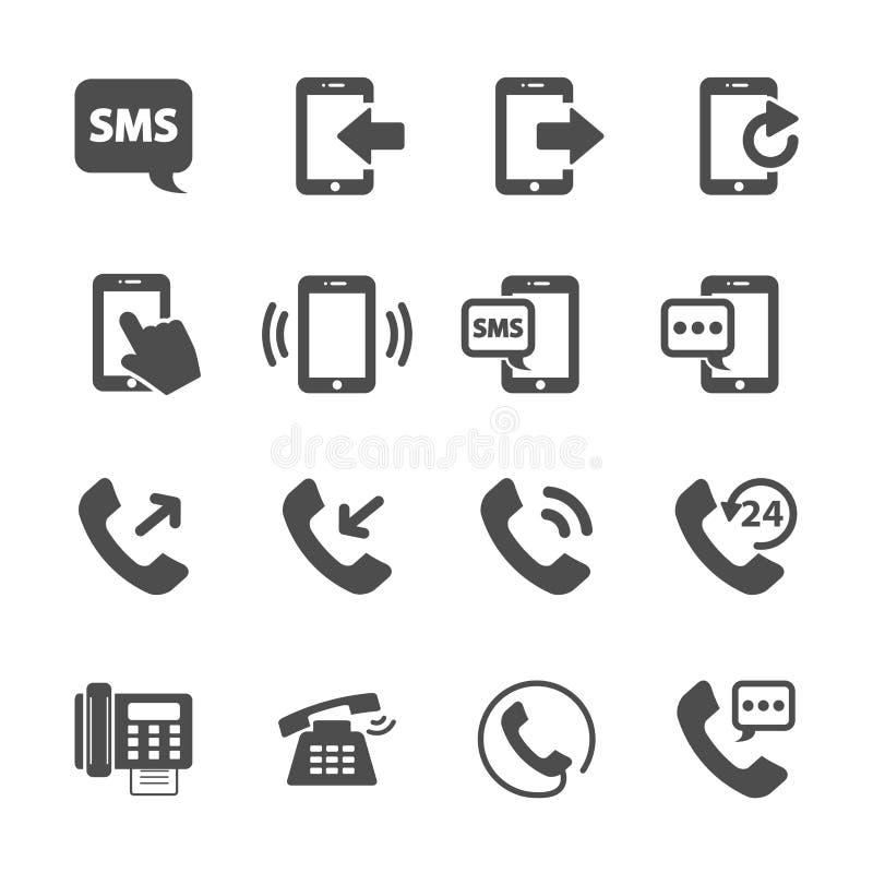 Uppsättning för symbol för telefonapparatkommunikation, vektor eps10 royaltyfri illustrationer