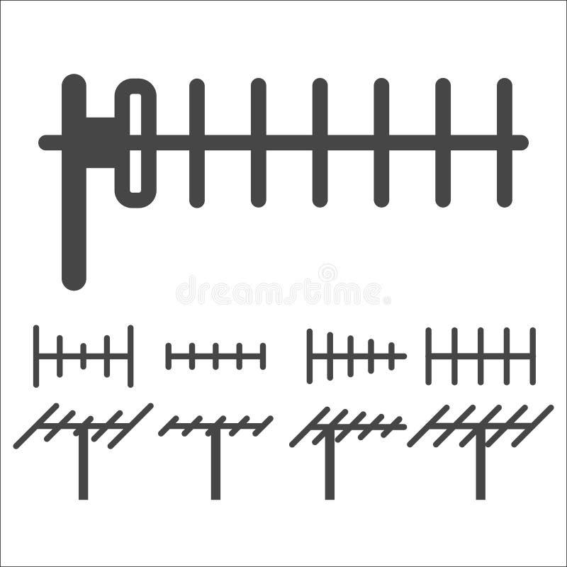 Uppsättning för symbol för televisionantenn royaltyfri illustrationer