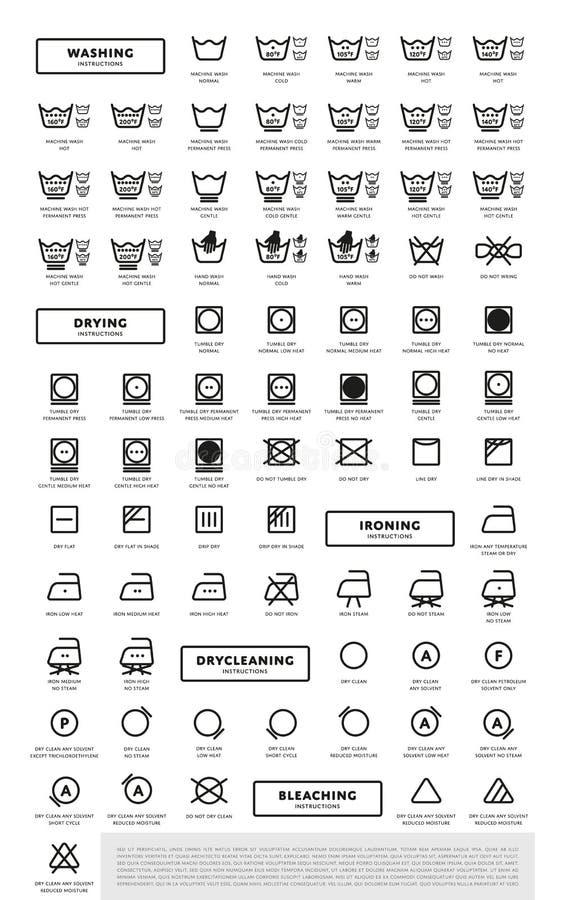 Uppsättning för symbol för tvätteritvagningsymboler vektor illustrationer