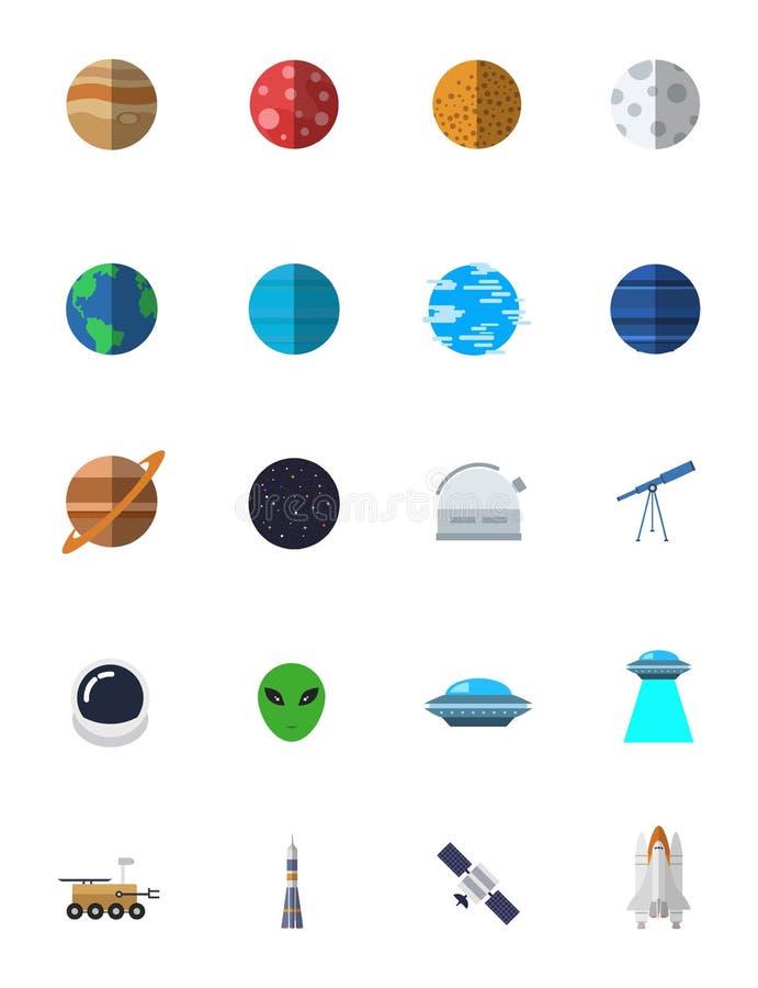 Uppsättning för symbol för utrymmevektor royaltyfri illustrationer