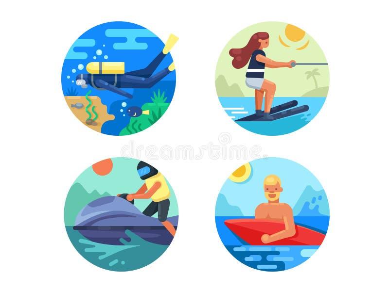 Uppsättning för symbol för vattensport royaltyfri illustrationer