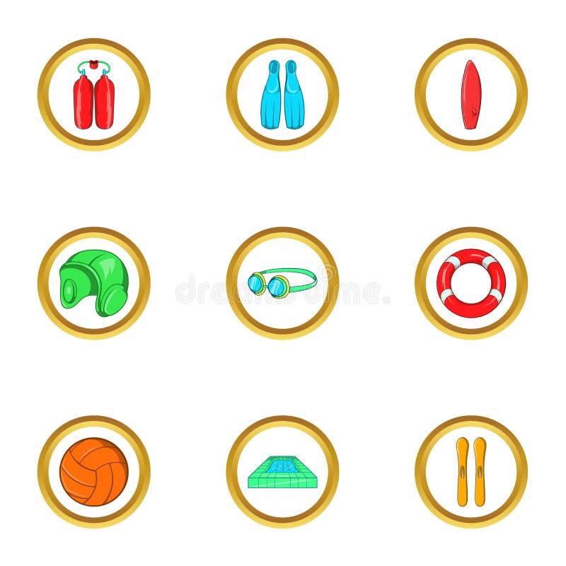 Uppsättning för symbol för vattensport, tecknad filmstil vektor illustrationer