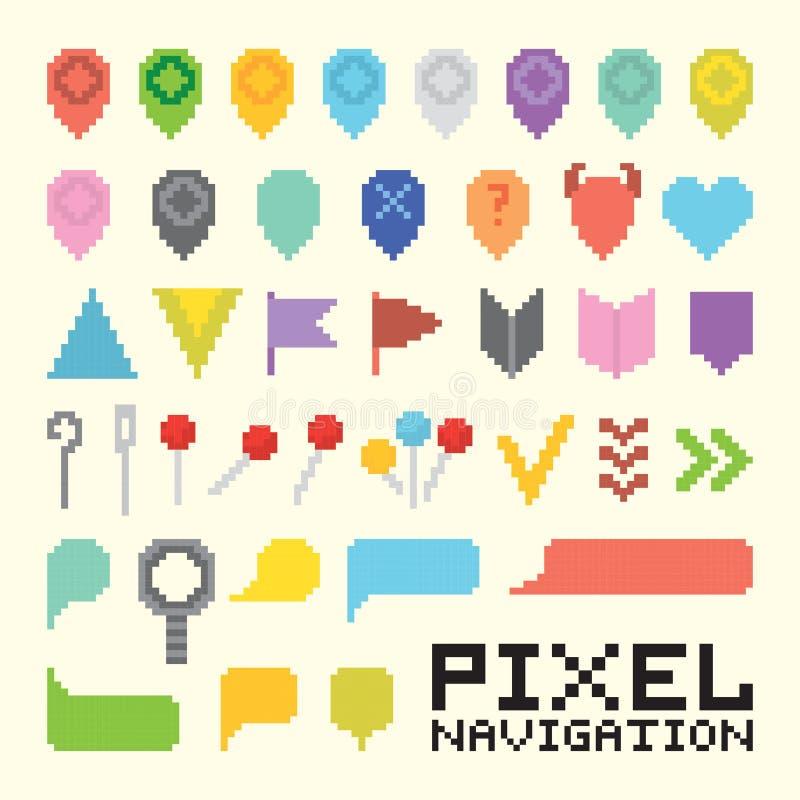 Uppsättning för symbol för vektor för PIXELkonstnavigering royaltyfri illustrationer