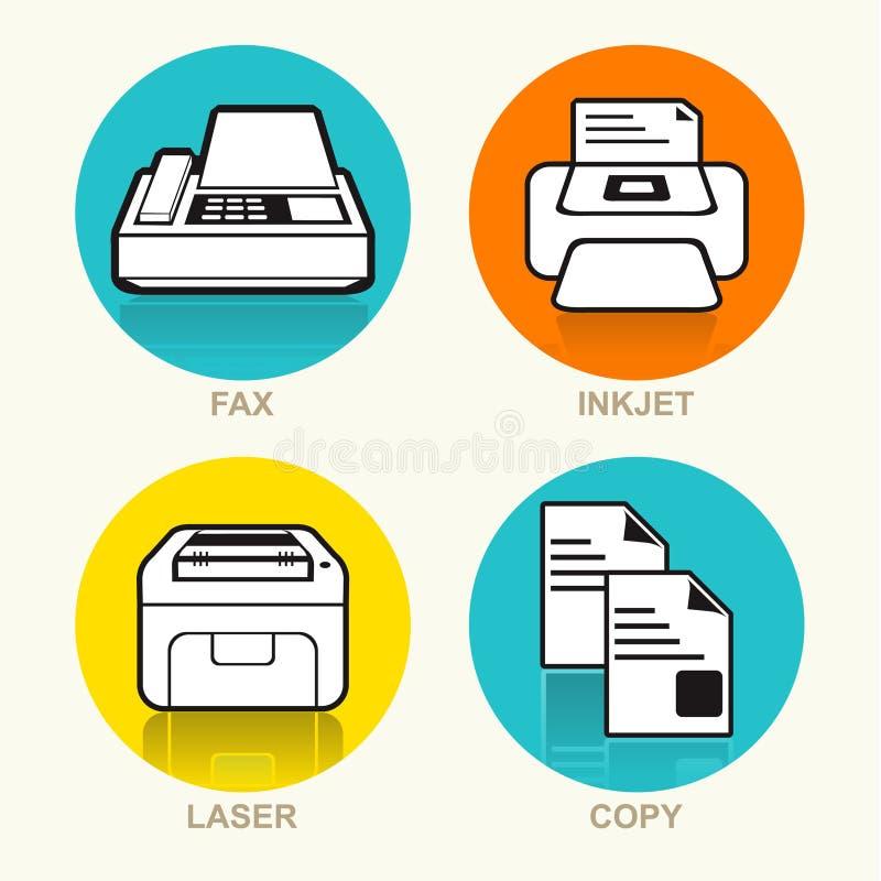 Uppsättning för symbol för vektor för printingmaskin vektor illustrationer