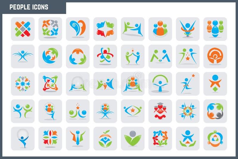 Uppsättning för symbol för vektorfolk färgrik royaltyfri illustrationer