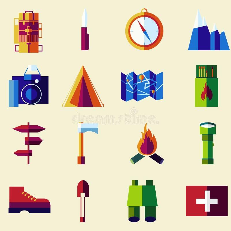 Uppsättning för symbol för vektorlägenhetfärg vektor illustrationer
