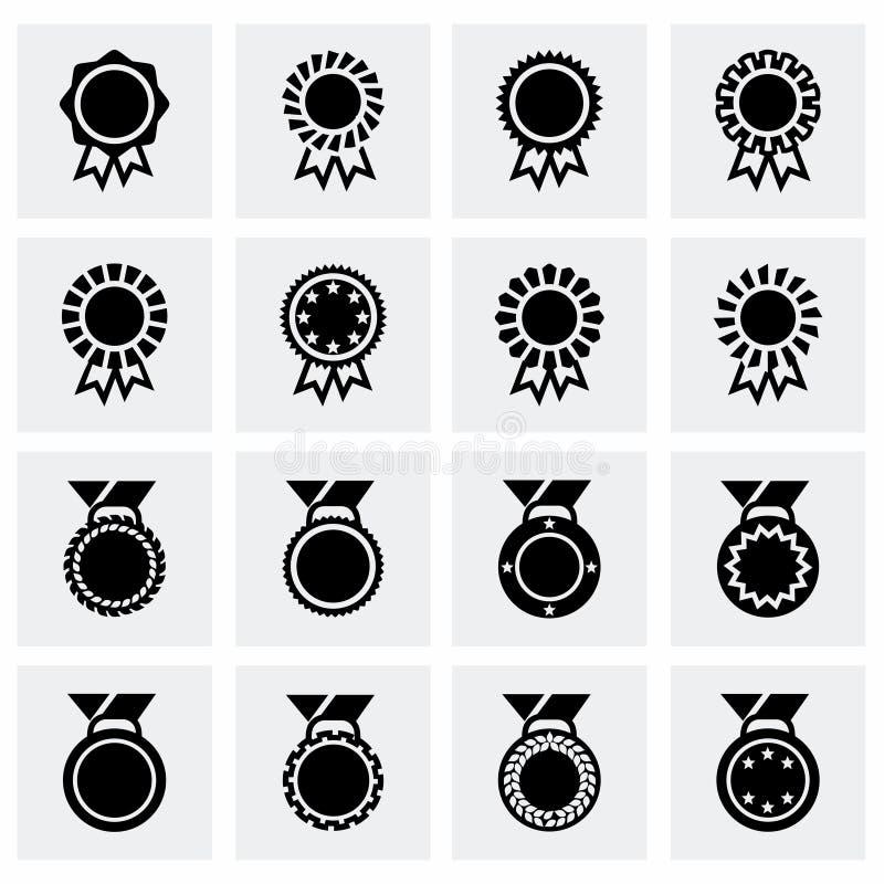Uppsättning för symbol för vektorutmärkelsemedalj royaltyfri illustrationer