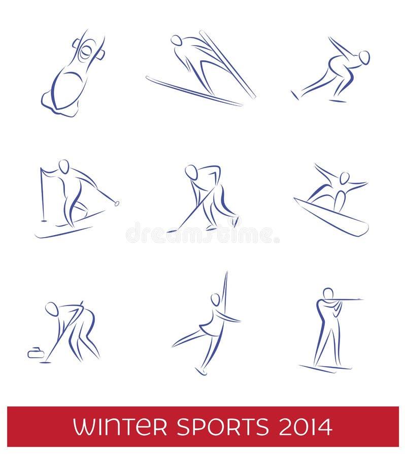 Uppsättning för symbol för vintersportar royaltyfri illustrationer