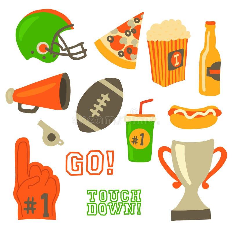 Uppsättning för symbol för fotbollpartivektor Beröm för toppen bunke Stil för tappning för amerikansk fotboll retro Modig hjälm f vektor illustrationer