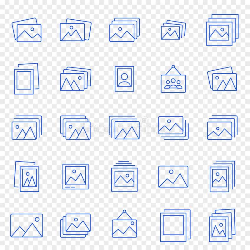 Uppsättning för symbol för fotogalleri 25 vektorsymboler packar vektor illustrationer