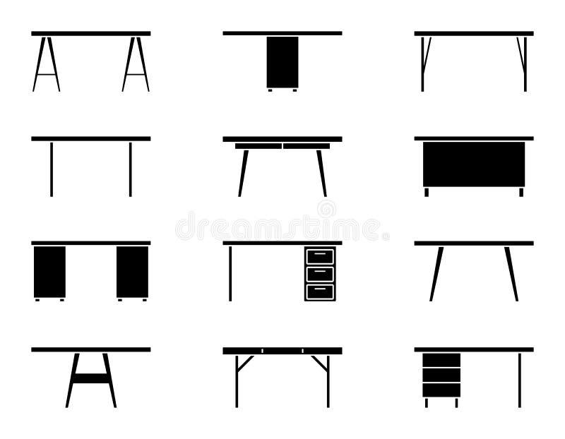 Uppsättning för symbol för främre sikt för kontorstabell Svart möblemangkonturpictogram vektor illustrationer