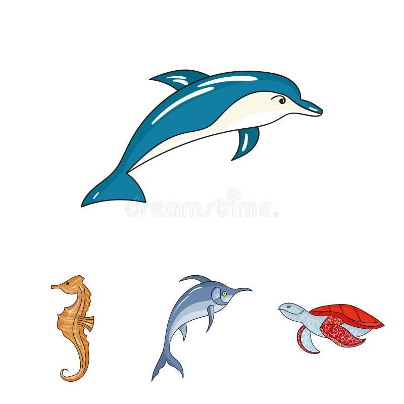 Uppsättning för symbol för havsdjur släkt royaltyfri illustrationer