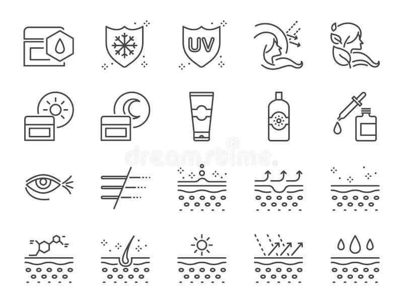 Uppsättning för symbol för hudomsorg Inklusive symboler som collagenen, den medicinska skönhetsmedlet, sunscreen, ansiktsbehandli royaltyfri illustrationer