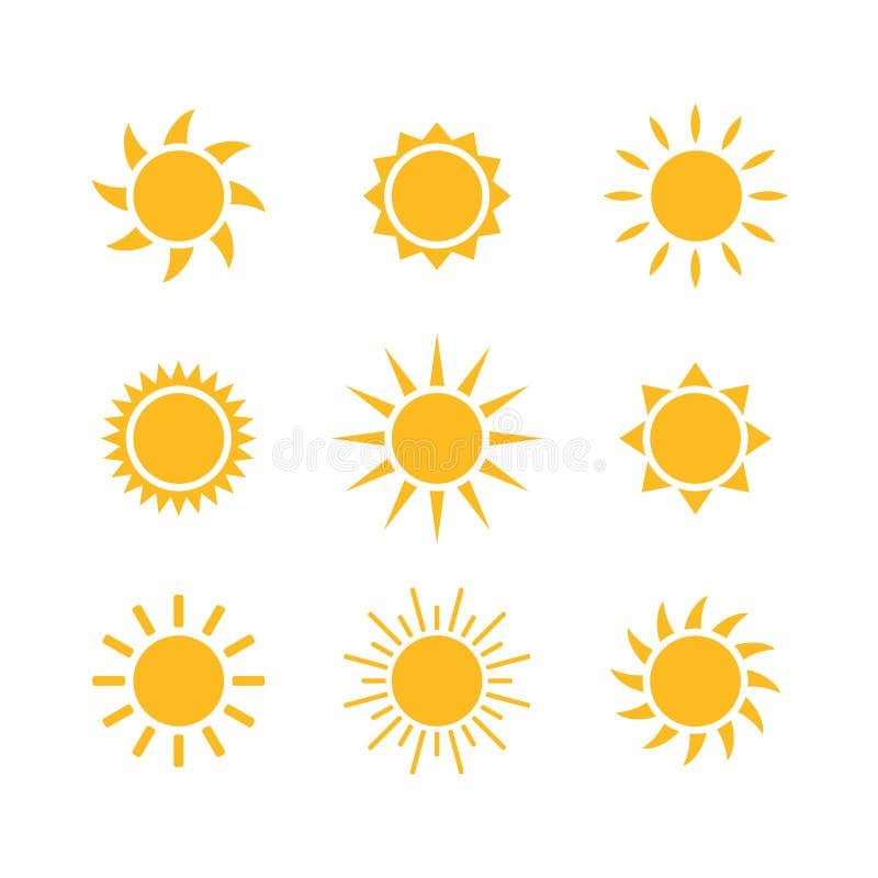 Uppsättning för symbol för illustration för vädersolvektor vektor illustrationer