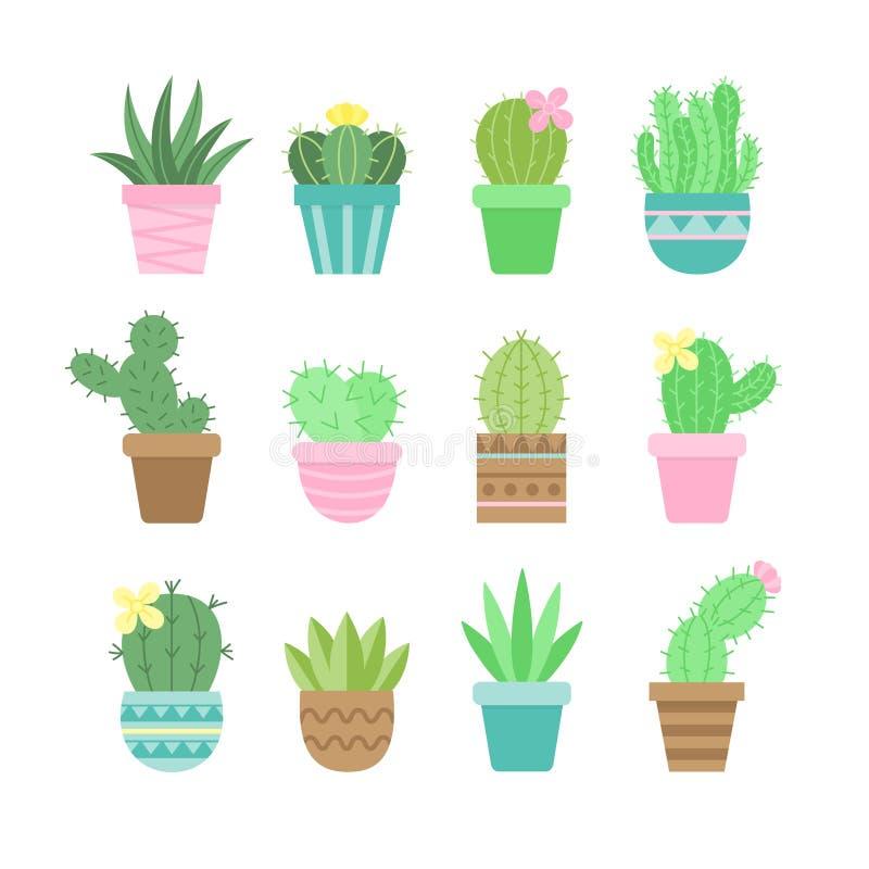 Uppsättning för symbol för kaktusvektorillustration stock illustrationer