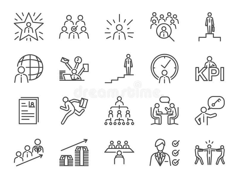 Uppsättning för symbol för karriärbana Inklusive symbolerna som newbien, jobbsökaren, huvudjägaren som jagar huvuden, den första  vektor illustrationer